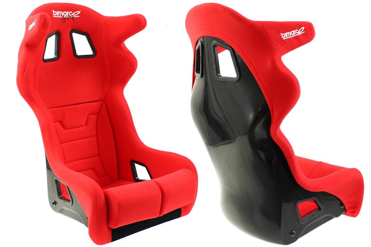 Fotel Sportowy Bimarco Grip Welur Red HANS FIA - GRUBYGARAGE - Sklep Tuningowy